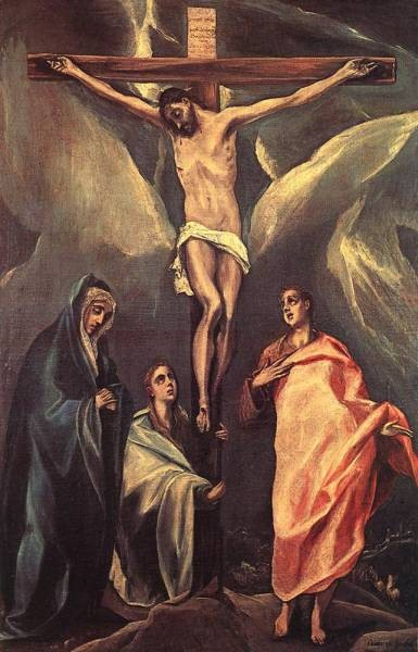 GRECO El Christ on the Cross with the Two Maries and St John